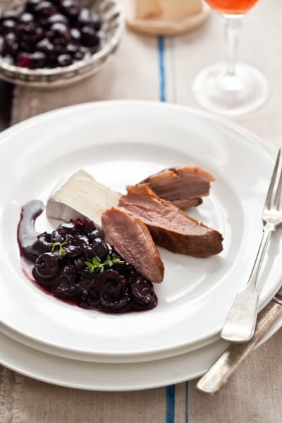 Duck Breast with Slathered Fresh Cherry Compote and Triple Cream Brie Cheese