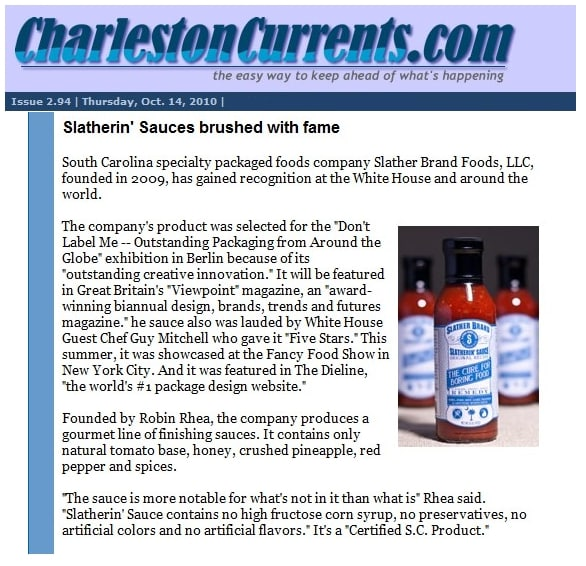 October 14, 2010 Charleston Currents Features Slather Brand